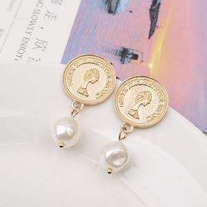 Pearl Vintage Gold Coin Drop Dangle Earrings